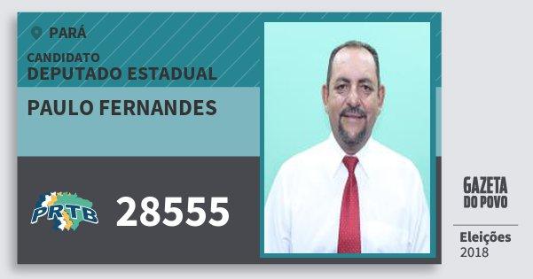 Santinho Paulo Fernandes 28555 (PRTB) Deputado Estadual | Pará | Eleições 2018