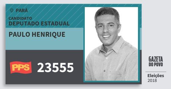 Santinho Paulo Henrique 23555 (PPS) Deputado Estadual | Pará | Eleições 2018