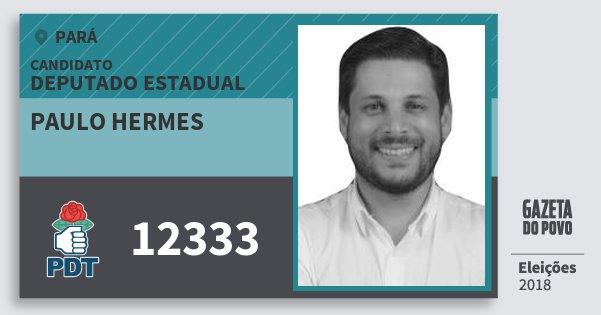 Santinho Paulo Hermes 12333 (PDT) Deputado Estadual | Pará | Eleições 2018