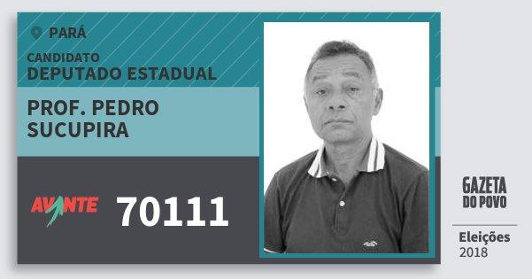 Santinho Prof. Pedro  Sucupira 70111 (AVANTE) Deputado Estadual | Pará | Eleições 2018
