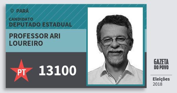 Santinho Professor Ari Loureiro 13100 (PT) Deputado Estadual | Pará | Eleições 2018