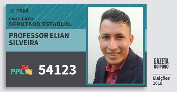 Santinho Professor Elian Silveira 54123 (PPL) Deputado Estadual | Pará | Eleições 2018