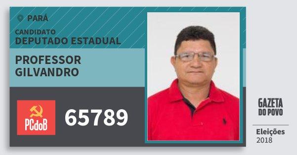 Santinho Professor Gilvandro 65789 (PC do B) Deputado Estadual | Pará | Eleições 2018