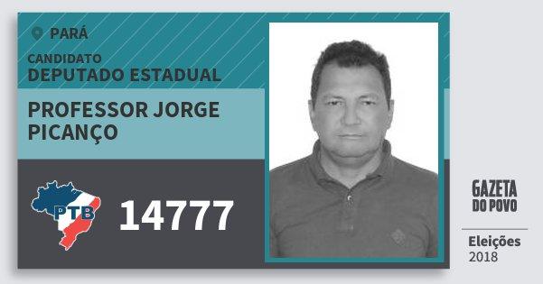 Santinho Professor Jorge Picanço 14777 (PTB) Deputado Estadual | Pará | Eleições 2018