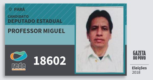Santinho Professor Miguel 18602 (REDE) Deputado Estadual | Pará | Eleições 2018