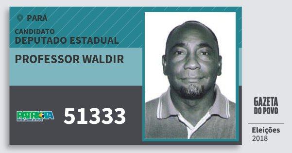 Santinho Professor Waldir 51333 (PATRI) Deputado Estadual | Pará | Eleições 2018