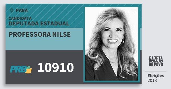 Santinho Professora Nilse 10910 (PRB) Deputada Estadual | Pará | Eleições 2018