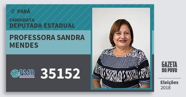 Santinho Professora Sandra Mendes 35152 (PMB) Deputada Estadual | Pará | Eleições 2018