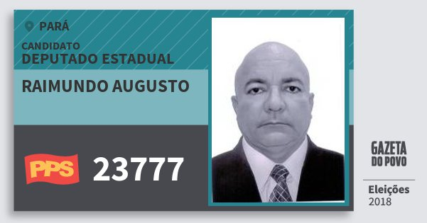 Santinho Raimundo Augusto 23777 (PPS) Deputado Estadual | Pará | Eleições 2018