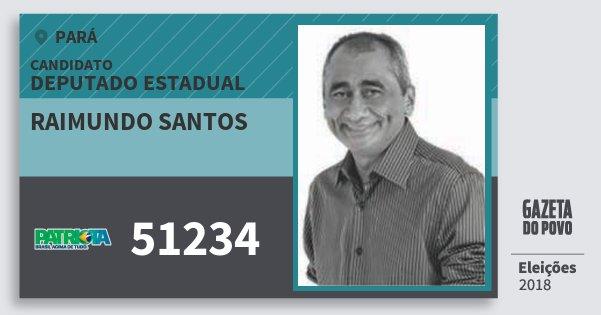 Santinho Raimundo Santos 51234 (PATRI) Deputado Estadual | Pará | Eleições 2018