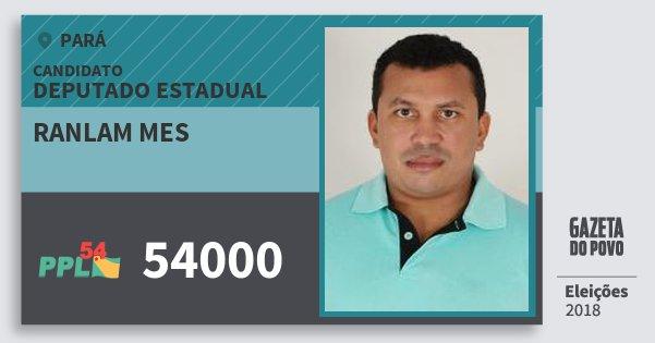 Santinho Ranlam Mes 54000 (PPL) Deputado Estadual | Pará | Eleições 2018