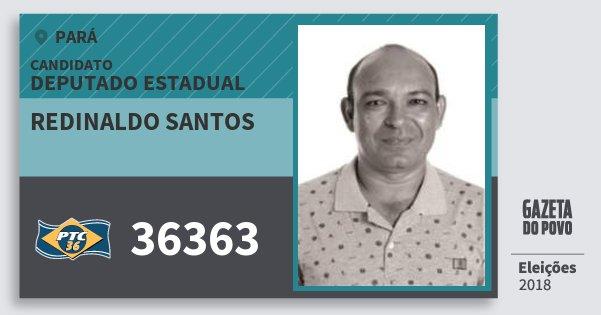 Santinho Redinaldo Santos 36363 (PTC) Deputado Estadual | Pará | Eleições 2018
