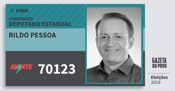 Santinho Rildo Pessoa 70123 (AVANTE) Deputado Estadual | Pará | Eleições 2018