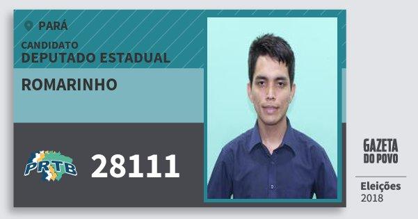 Santinho Romarinho 28111 (PRTB) Deputado Estadual | Pará | Eleições 2018