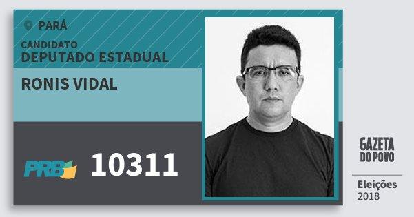 Santinho Ronis Vidal 10311 (PRB) Deputado Estadual | Pará | Eleições 2018