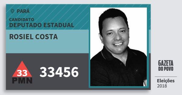 Santinho Rosiel Costa 33456 (PMN) Deputado Estadual | Pará | Eleições 2018