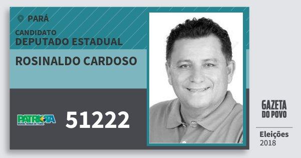 Santinho Rosinaldo Cardoso 51222 (PATRI) Deputado Estadual | Pará | Eleições 2018