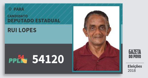Santinho Rui Lopes 54120 (PPL) Deputado Estadual   Pará   Eleições 2018
