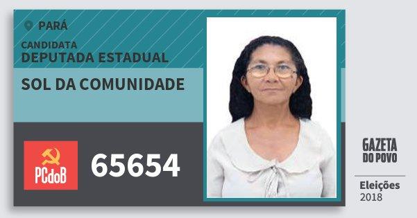 Santinho Sol da Comunidade 65654 (PC do B) Deputada Estadual | Pará | Eleições 2018