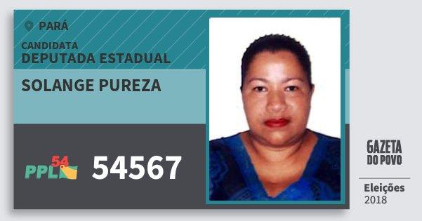 Santinho Solange Pureza 54567 (PPL) Deputada Estadual | Pará | Eleições 2018