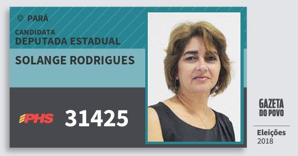 Santinho Solange Rodrigues 31425 (PHS) Deputada Estadual | Pará | Eleições 2018