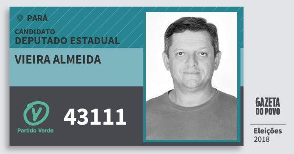 Santinho Vieira Almeida 43111 (PV) Deputado Estadual | Pará | Eleições 2018