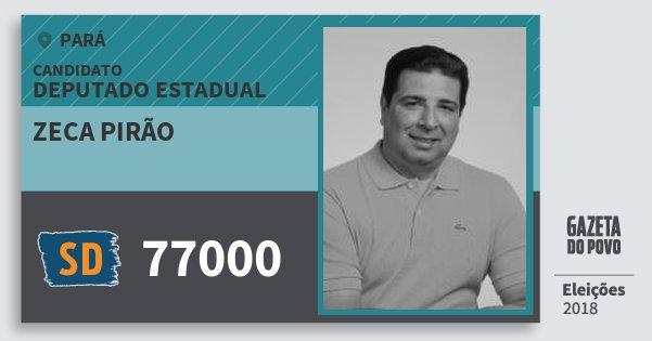 Santinho Zeca Pirão 77000 (SOLIDARIEDADE) Deputado Estadual | Pará | Eleições 2018