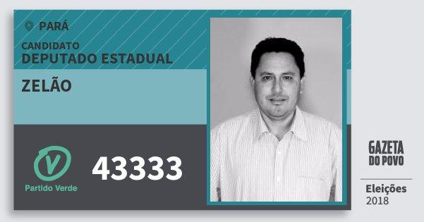 Santinho Zelão 43333 (PV) Deputado Estadual | Pará | Eleições 2018