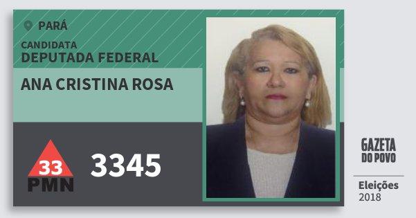 Santinho Ana Cristina Rosa 3345 (PMN) Deputada Federal | Pará | Eleições 2018