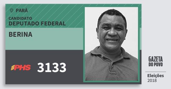 Santinho Berina 3133 (PHS) Deputado Federal | Pará | Eleições 2018