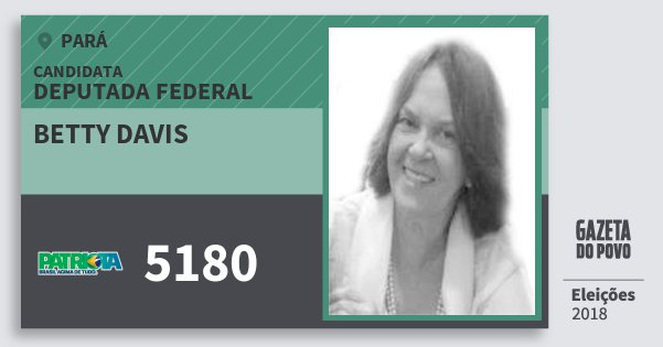 Santinho Betty Davis 5180 (PATRI) Deputada Federal | Pará | Eleições 2018