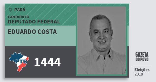 Santinho Eduardo Costa 1444 (PTB) Deputado Federal | Pará | Eleições 2018