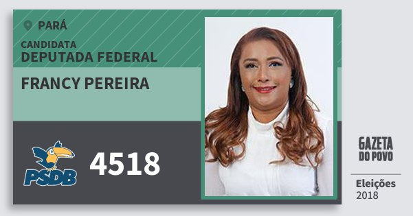 Santinho Francy Pereira 4518 (PSDB) Deputada Federal | Pará | Eleições 2018
