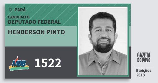 Santinho Henderson Pinto 1522 (MDB) Deputado Federal | Pará | Eleições 2018