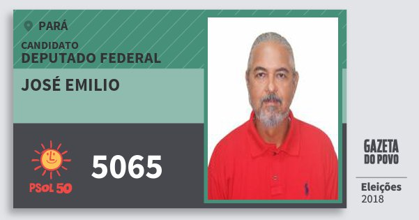 Santinho José Emilio 5065 (PSOL) Deputado Federal | Pará | Eleições 2018