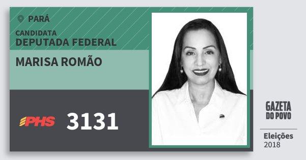 Santinho Marisa Romão 3131 (PHS) Deputada Federal | Pará | Eleições 2018