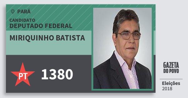 Santinho Miriquinho Batista 1380 (PT) Deputado Federal | Pará | Eleições 2018