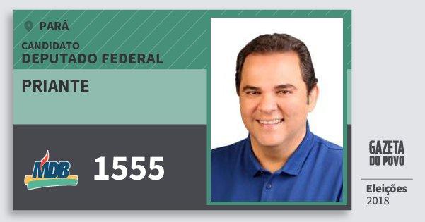Santinho Priante 1555 (MDB) Deputado Federal | Pará | Eleições 2018
