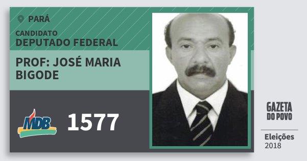 Santinho Prof: José Maria Bigode 1577 (MDB) Deputado Federal | Pará | Eleições 2018