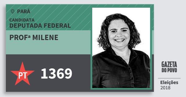 Santinho Profª Milene 1369 (PT) Deputada Federal | Pará | Eleições 2018