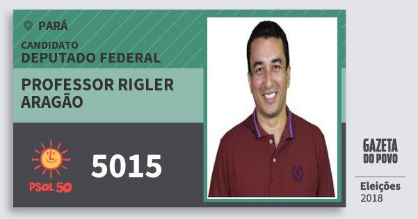 Santinho Professor Rigler Aragão 5015 (PSOL) Deputado Federal | Pará | Eleições 2018