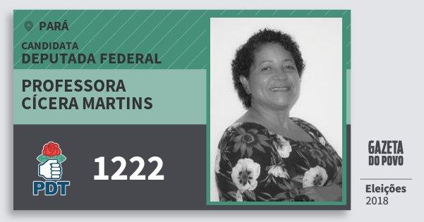 Santinho Professora Cícera Martins 1222 (PDT) Deputada Federal | Pará | Eleições 2018