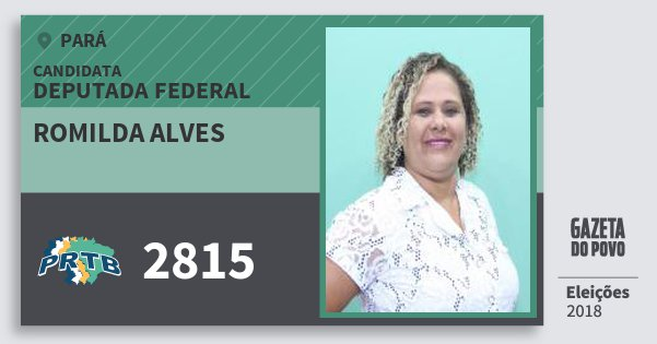 Santinho Romilda Alves 2815 (PRTB) Deputada Federal | Pará | Eleições 2018