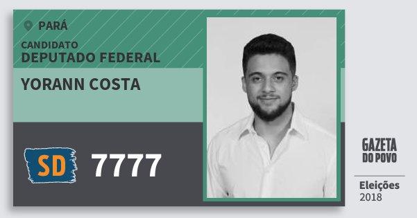 Santinho Yorann Costa 7777 (SOLIDARIEDADE) Deputado Federal | Pará | Eleições 2018