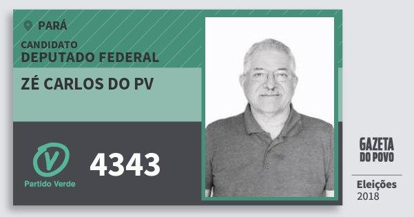 Santinho Zé Carlos do Pv 4343 (PV) Deputado Federal | Pará | Eleições 2018