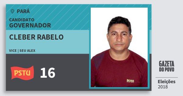 Santinho Cleber Rabelo 16 (PSTU) Governador | Pará | Eleições 2018