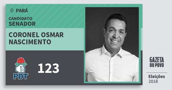 Santinho Coronel Osmar Nascimento 123 (PDT) Senador | Pará | Eleições 2018