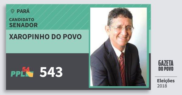 Santinho Xaropinho do Povo 543 (PPL) Senador | Pará | Eleições 2018