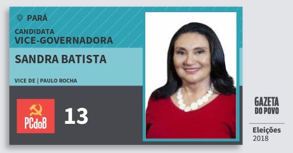 Santinho Sandra Batista 13 (PC do B) Vice-Governadora | Pará | Eleições 2018