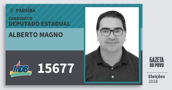Santinho Alberto Magno 15677 (MDB) Deputado Estadual | Paraíba | Eleições 2018